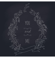 Hand drawn wedding wreath on chalkboard vector image vector image