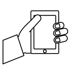 hand holding a smartphone icon vector image