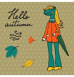 Hello autumn elegant card with cute horse vector image