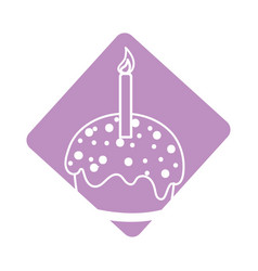 Label delicious cupcake with candle to happy vector