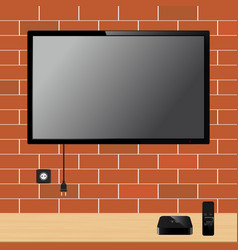 Modern tv with blank screen on brick wall and tv vector