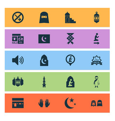 Religion icons set collection of namaz place vector
