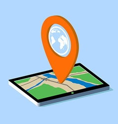 Route map on the tablet vector