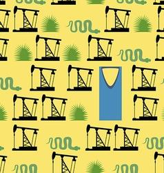 Saudi arabia seamless pattern desert and oil pumps vector