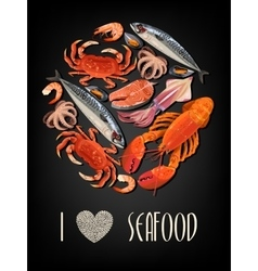 Seafood on black background vector image vector image