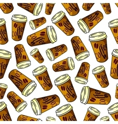 Seamless brown paper cups of coffee pattern vector image