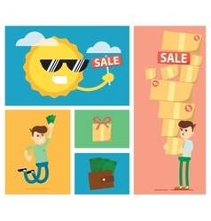 Set of discount sale vector image vector image