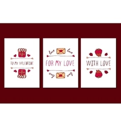 Set of Saint Valentines day hand drawn greeting vector image vector image