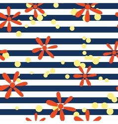 Striped pattern with flowers vector image vector image