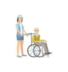 Volunteer rolling old man in wheelchair vector