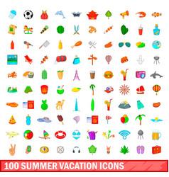 100 summer vacation icons set cartoon style vector