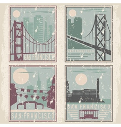 Old style grunge vintage retro posters with san vector