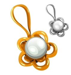 Gold and silver pendant with pearl vector image