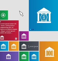 Bank icon sign buttons modern interface website vector