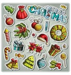 Set of new year season cartoon stickers vector