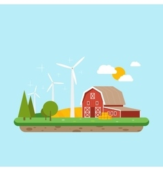 Clean energy in rural areas farm barn near trees vector