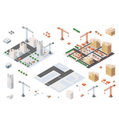 architectural set isometric vector image