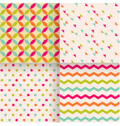Set of abstract retro geometric seamless patterns vector