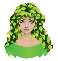 Girl with green leaves vector