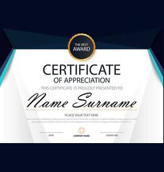 Blue elegance horizontal certificate template vector