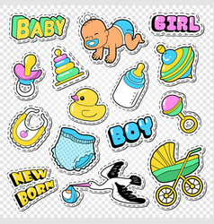 baby shower doodle with boy girl and toys vector image