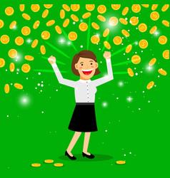money rain and happy woman vector image