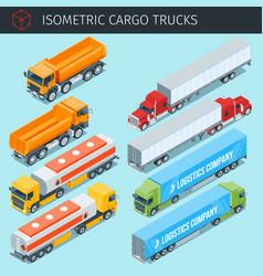 Isometric cargo trucks vector