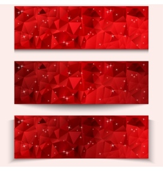 Set of red abstract geometric polygonal banners vector