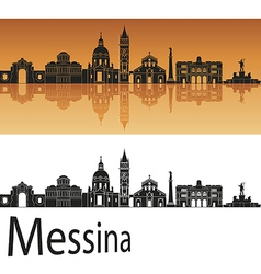 Messina skyline in orange background vector