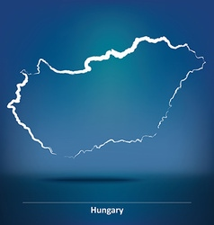 Doodle map of hungary vector