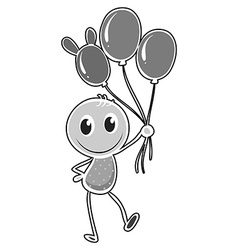 Kid carrying three balloons vector