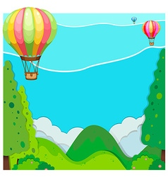 Nature scene with balloon over hills vector