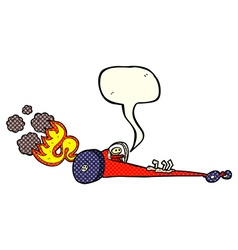 Cartoon drag racer with speech bubble vector