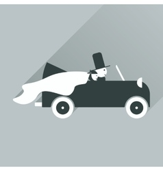Flat icon with long shadow bride and groom in car vector
