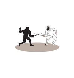 Swordsmen fencing isolated cartoon vector