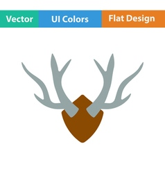 Flat design icon of deers antlers vector