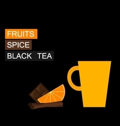 Black tea orange slice cinnamon vector