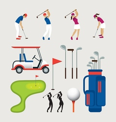 Golf objects and graphic elements vector