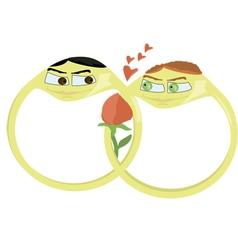 Beloved wedding rings gay vector