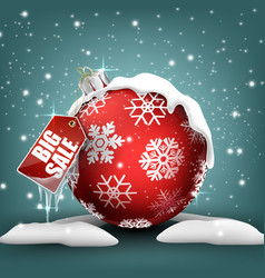 big winter sale background with red ball banner vector image