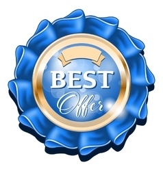 Blue best offer badge with gold border vector