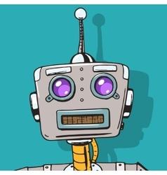 Cyborg face pop art style vector image