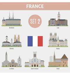 Famous Places cities in France vector image vector image