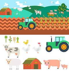 Farm in village elements for game sprites and tile vector