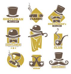 gentlemen club logo labels set on white colorful vector image