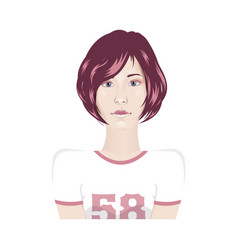 Girl portrait in sport t-shirt with short hair - vector