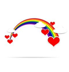 Happy Valentine day heart cloud and rainbow 001 vector image vector image