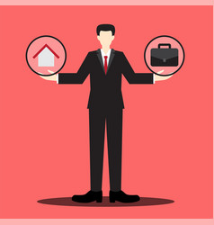 Home or work businessman scale vector
