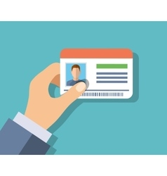 Id cards in hand vector