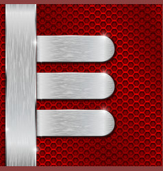 metal plates on red perforated background vector image
